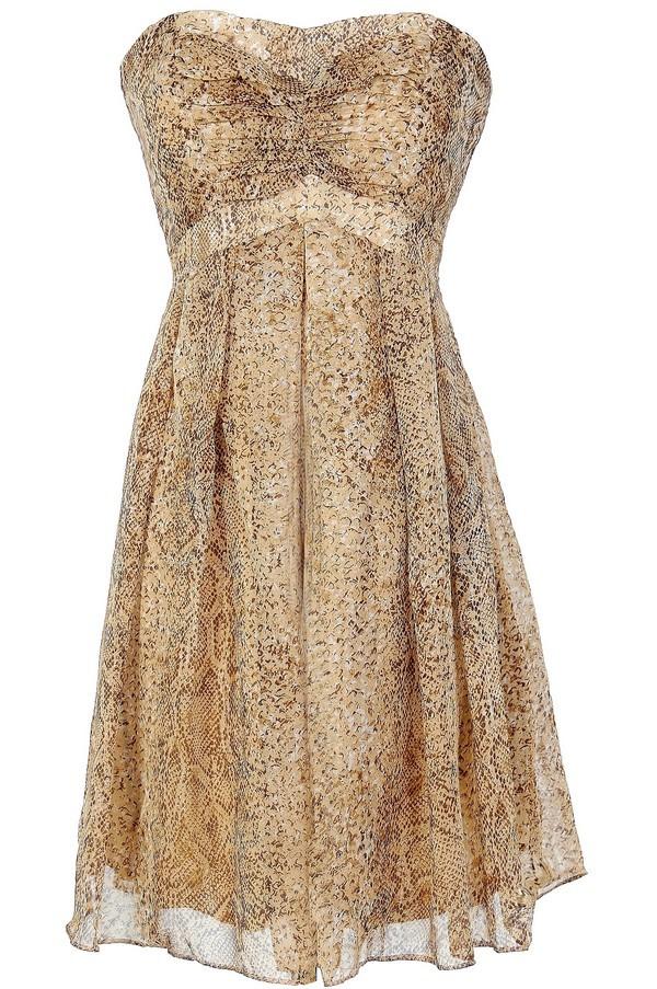 Python Print Strapless Chiffon Dress