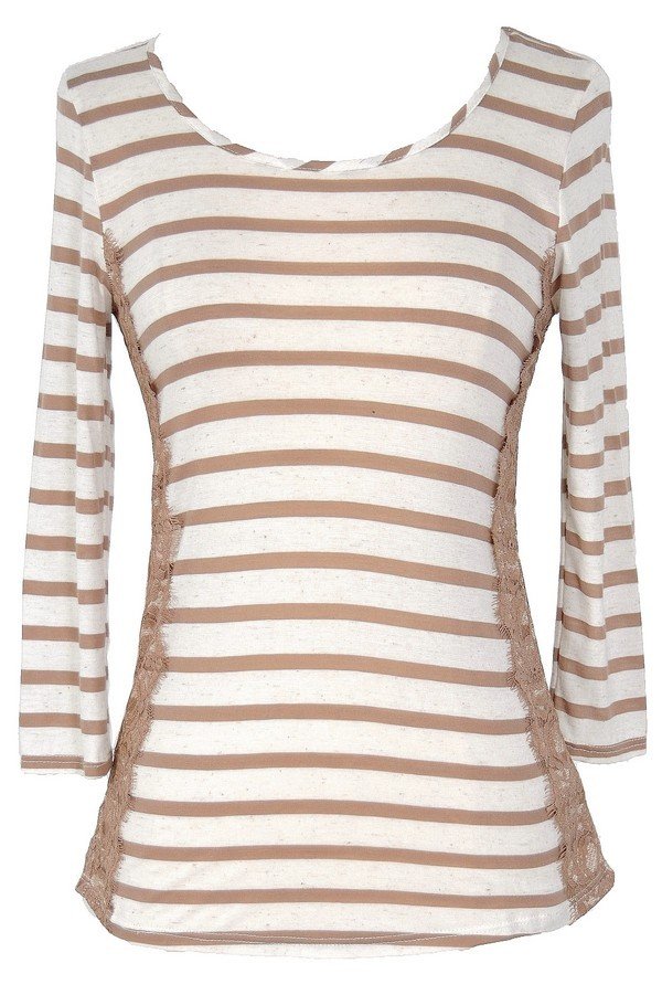 Lace Side Mocha and Ivory Stripe Top