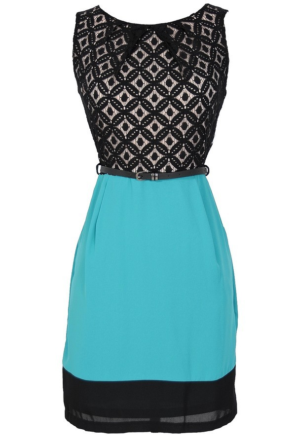 Diamond In The Sky Belted Lace Sheath Dress in Teal
