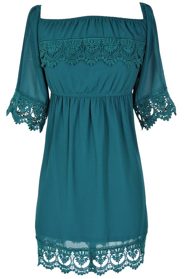 Gypsy Crochet Lace Dress in Dark Green