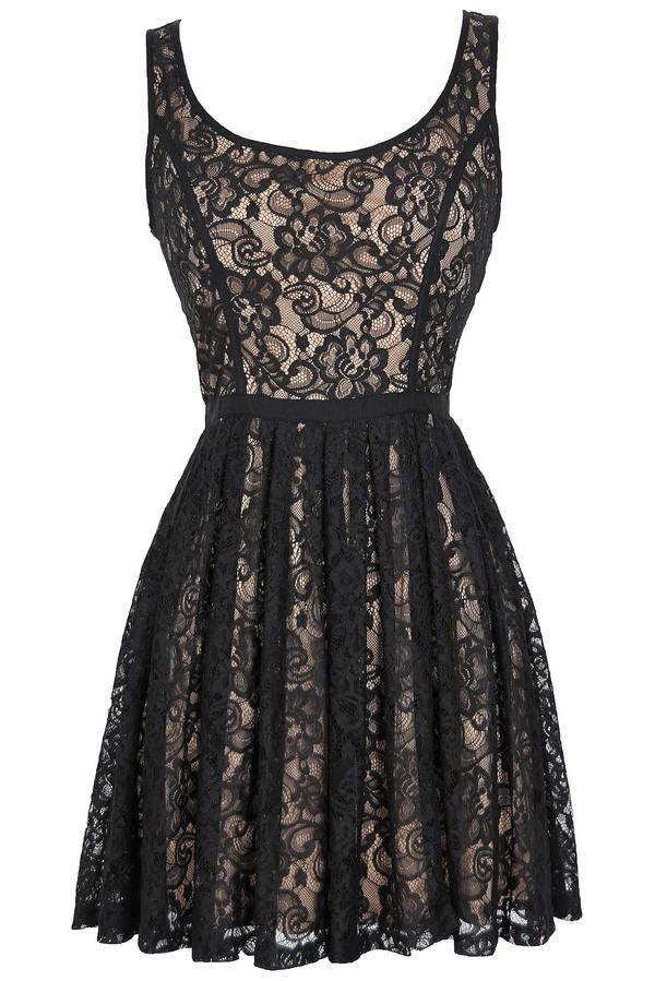 Effortlessly Enchanting A-Line Lace Dress in Black/Nude