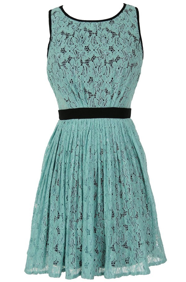 Classy Contrast A-Line Pleated Lace Dress in Mint