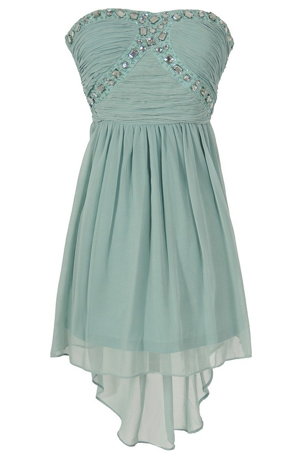 Beads of Light Embellished High Low Dress in Mint