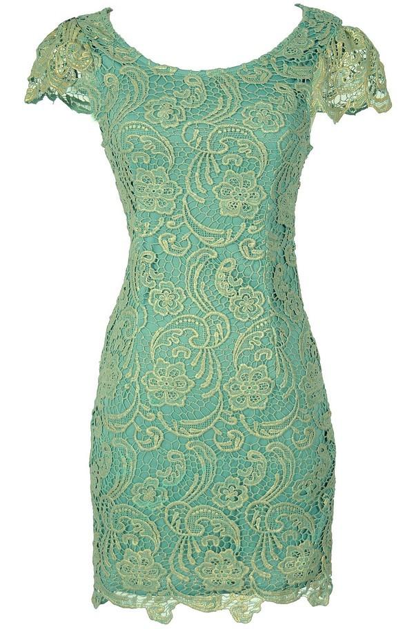 Nila Crochet Lace Capsleeve Pencil Dress in Mint Shimmer
