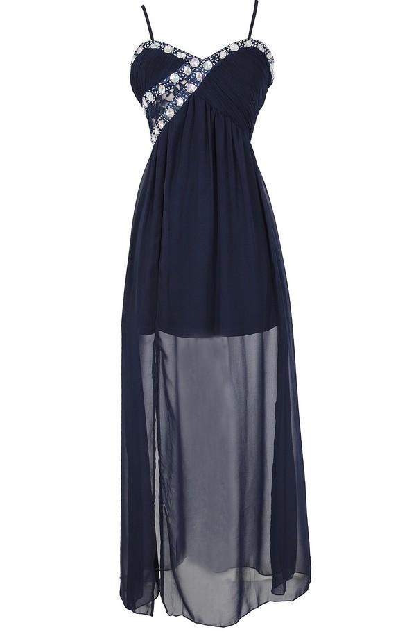 Evening Elegance Bold Embellished Maxi Dress in Navy