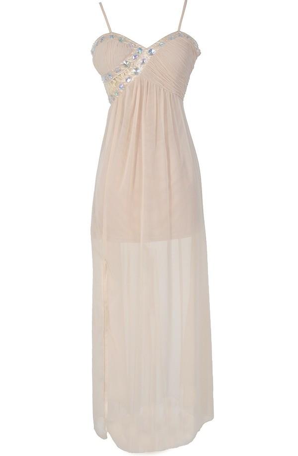 Evening Elegance Bold Embellished Maxi Dress in Cream