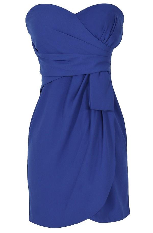 Annabelle Strapless Chiffon Designer Dress in Bright Blue