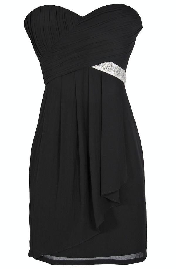 Black Tie Optional Strapless Embellished Designer Dress in Black