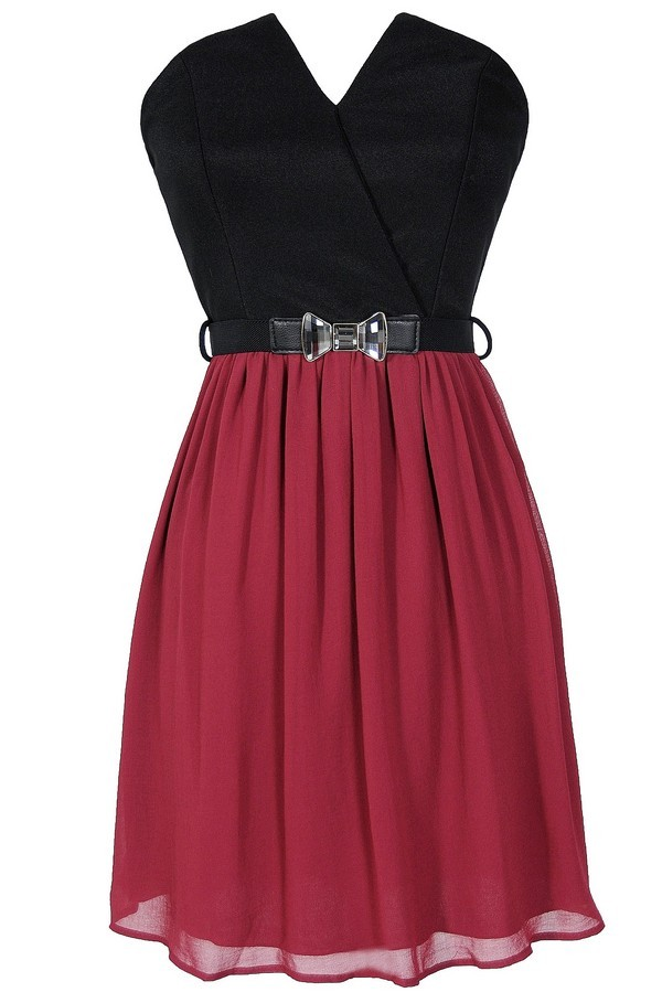 Tulip Garden Strapless Belted Dress in Black/Wine