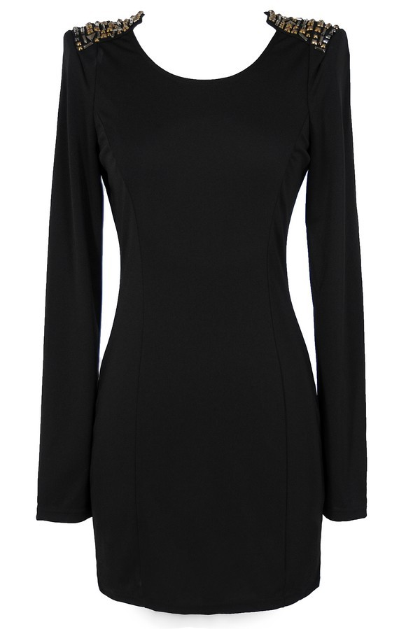 Shoulders Above Embellished Bodycon Dress in Black