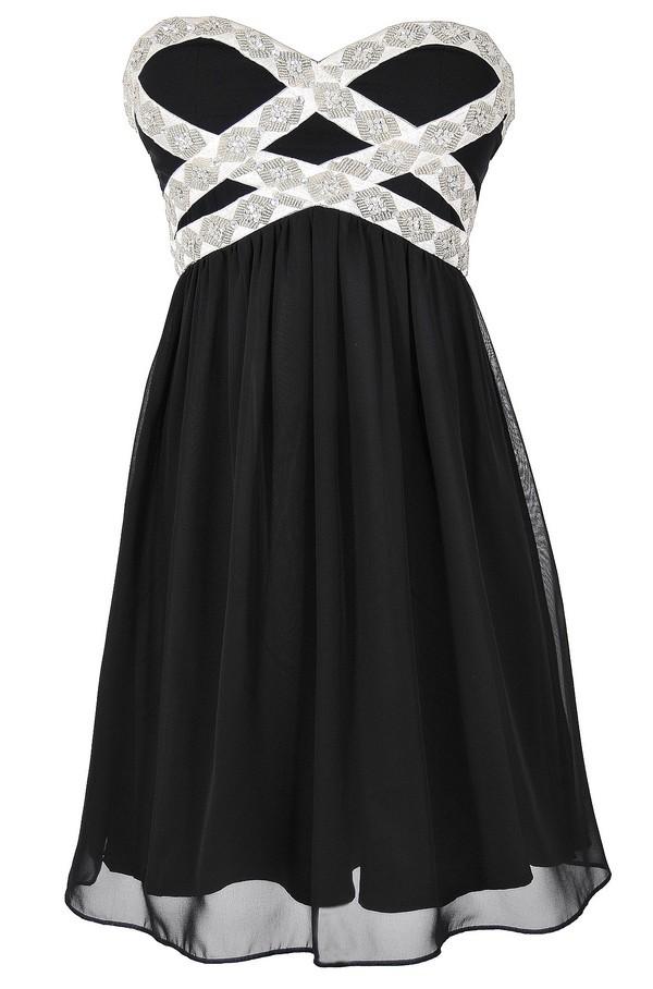 Sparkling Splendor Embellished Chiffon Designer Dress by Minuet in Black