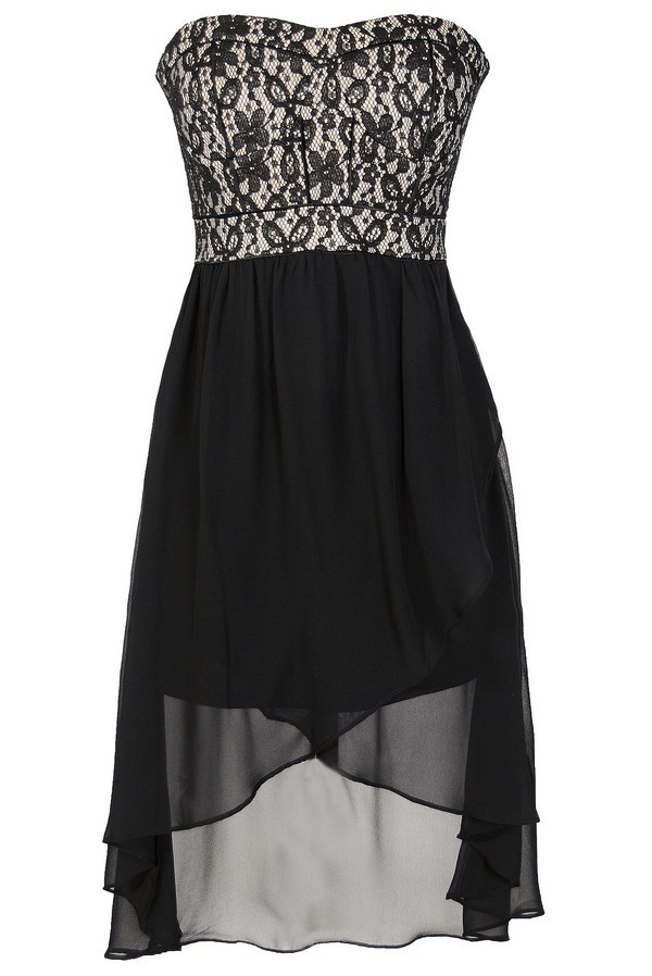 Black and Nude Lace Bustier Chiffon High Low Dress