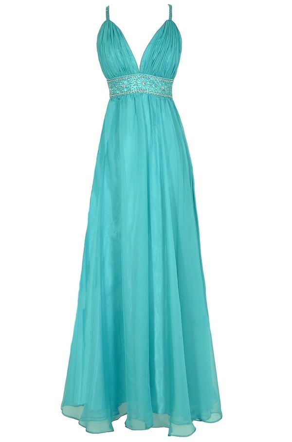 Whole New World Embellished Maxi Dress in Aqua