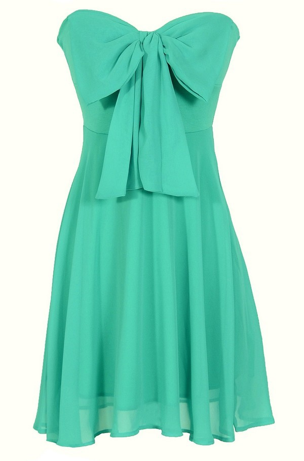 Oversized Bow Chiffon Dress in Teal