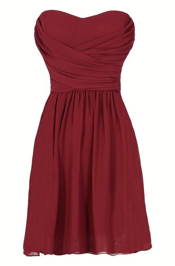 Dress To Impress Strapless Chiffon Dress in Wine Red