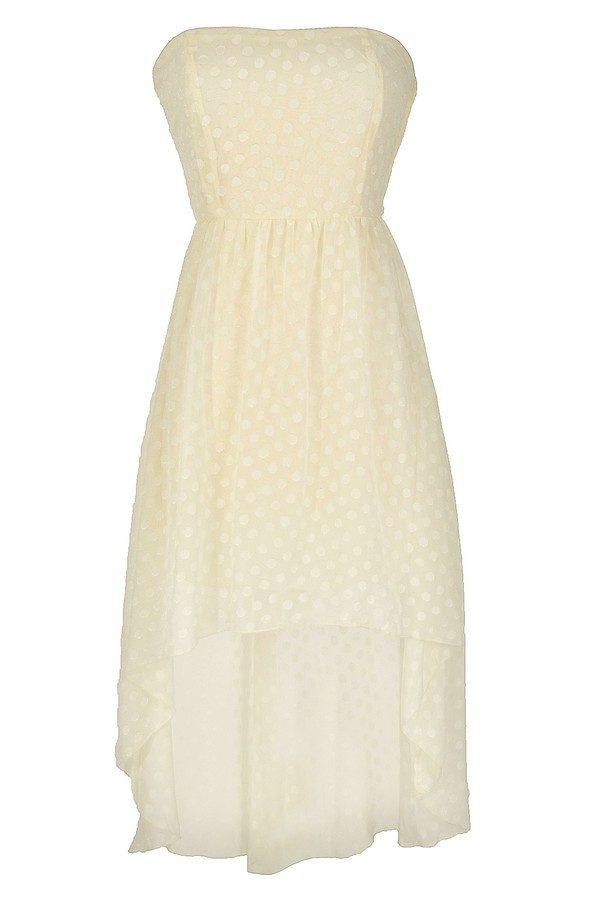 Ivory Dotted Strapless High Low Dress