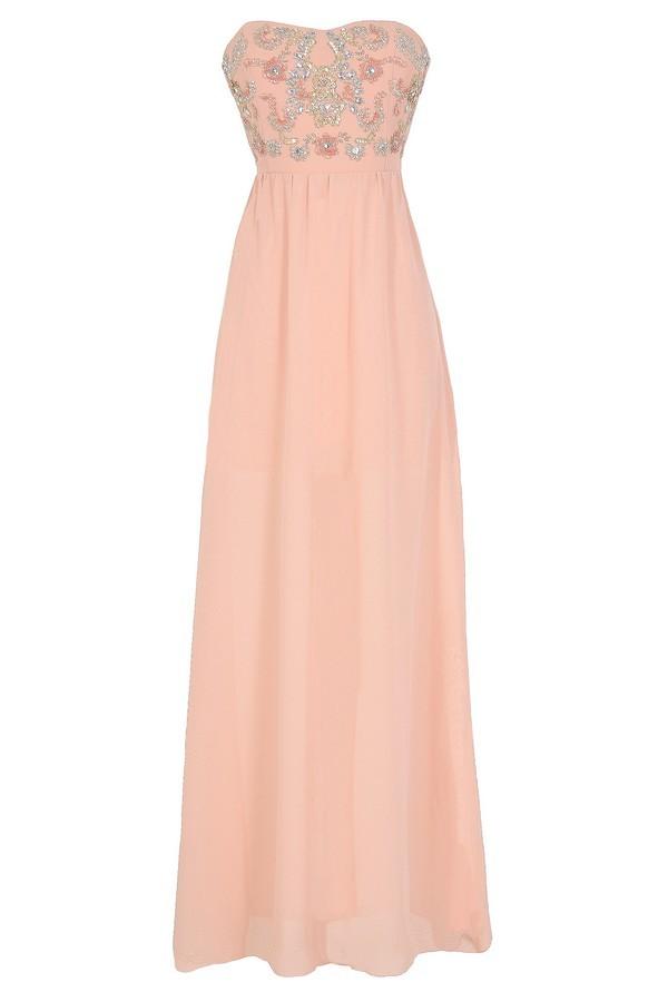 Twinkling Rose Embellished Pink Maxi Dress