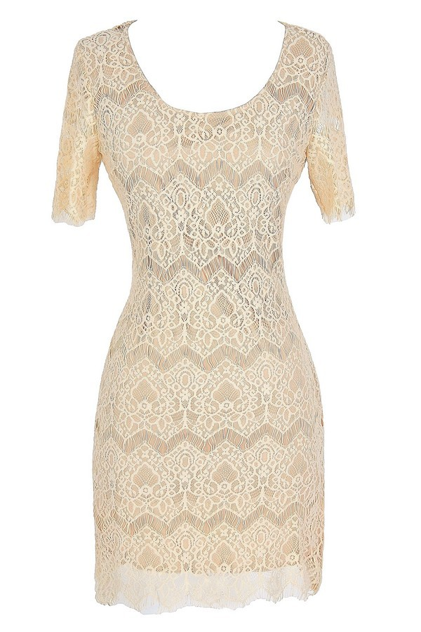 Wishing Well Beige Lace Dress