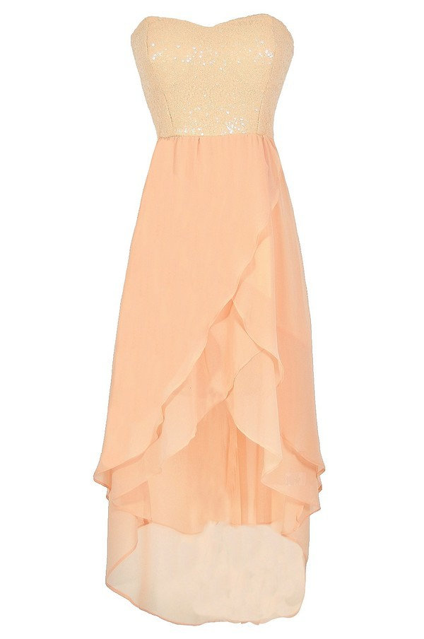Peaches and Gleam Sequin and Chiffon High Low Dress