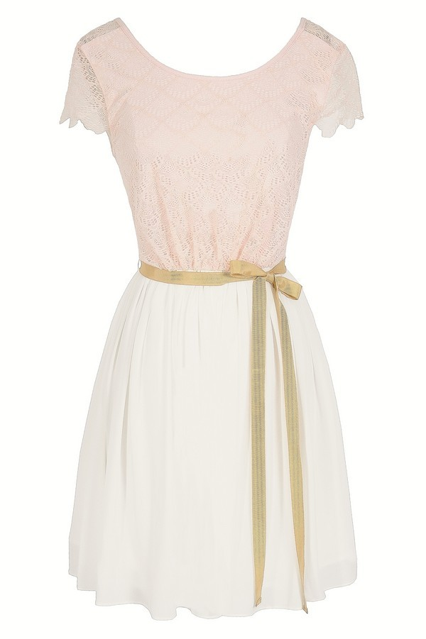 Dainty Delight Chiffon and Lace Designer Dress in Pink/Ivory