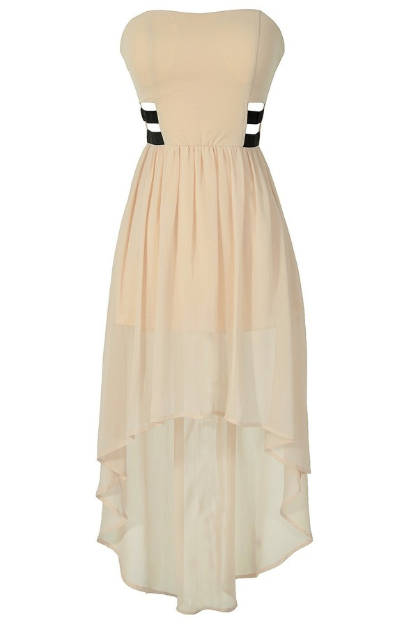Angel Eyes Cream and Black Banded High Low Dress