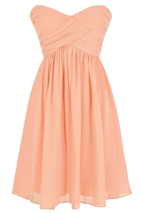 Night To Remember Strapless Chiffon Designer Dress in Peach
