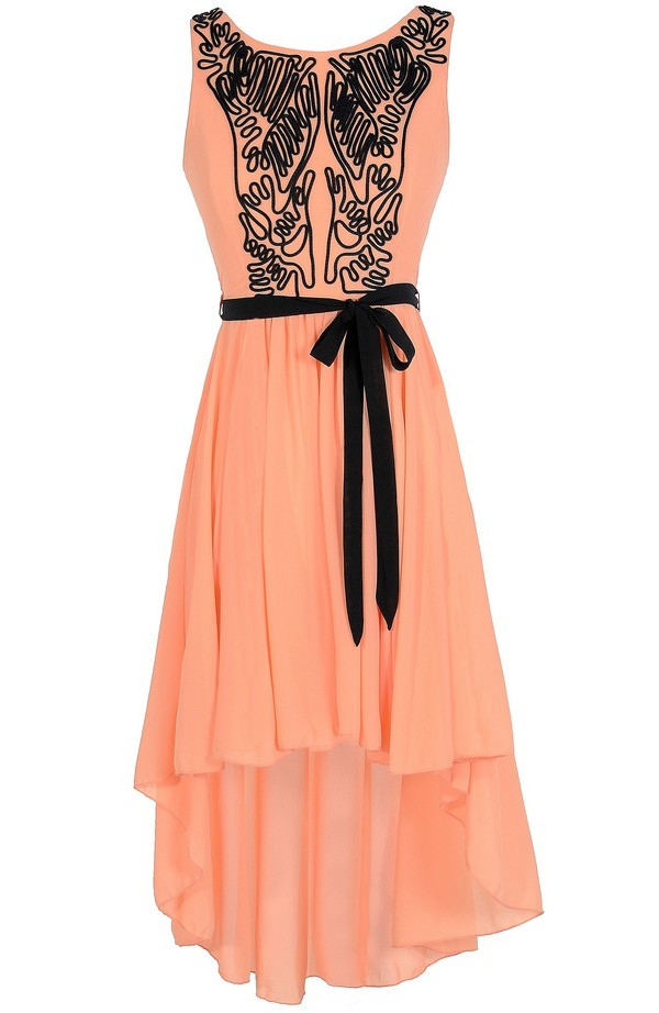 Scribble Out High Low Dress in Orange Peach