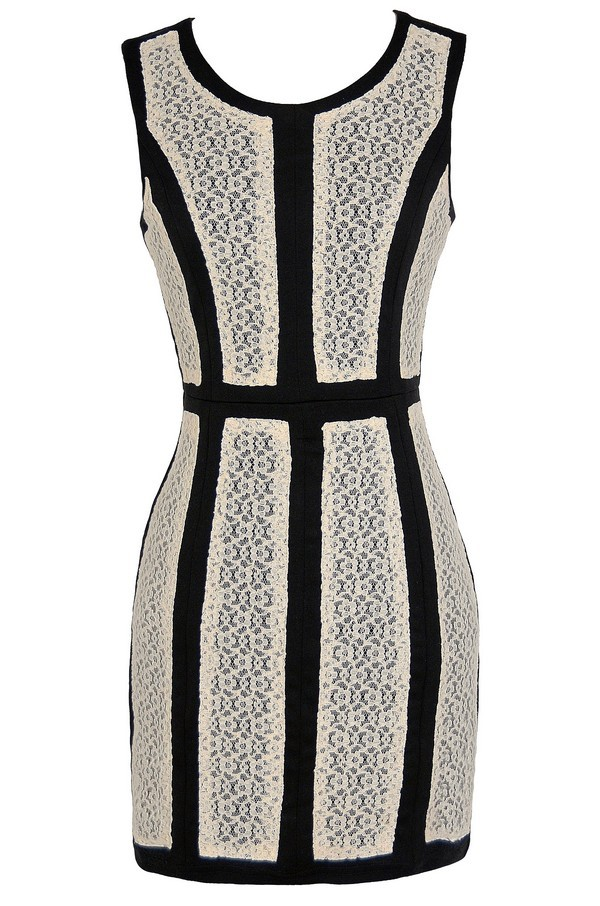 On The Panel Black and Ivory Lace Pencil Dress