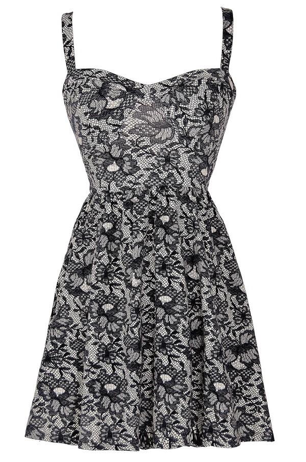 Lily boutique navy lace print a line dress dresses lily for 31 twenty five boutique