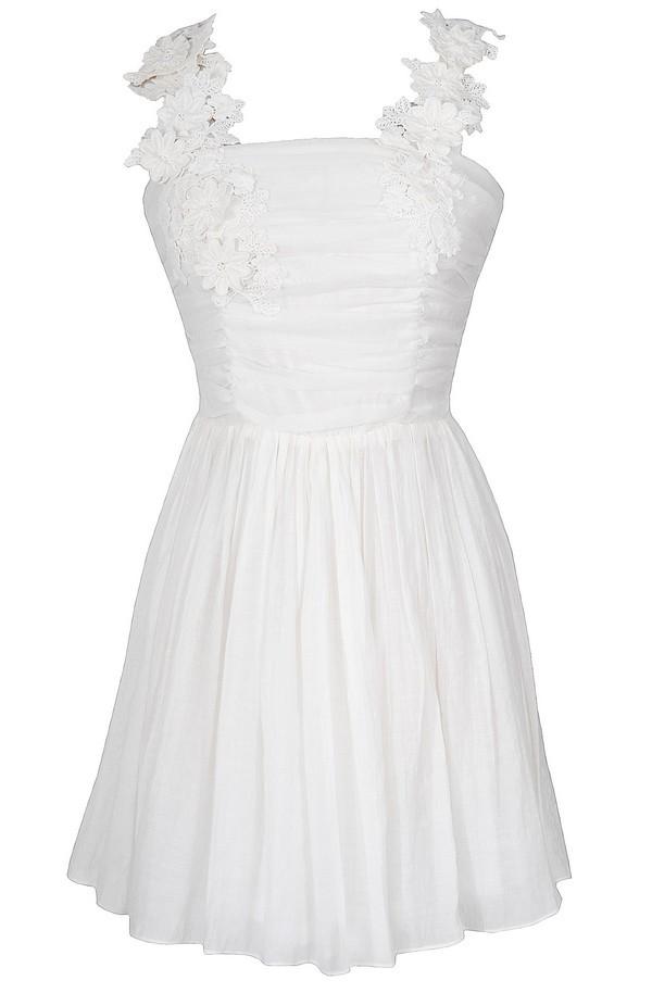 April Flowers Applique Strap Dress in Ivory