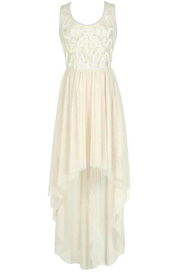 Ivory Jungle Princess Embellished Mesh High Low Dress