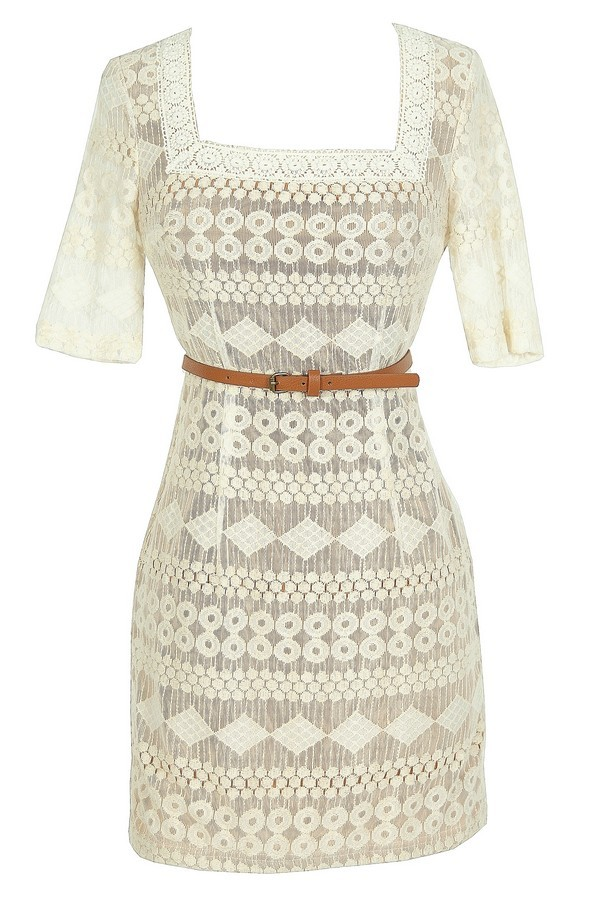 Delicate Designs Square Neck Belted Lace Dress in Ivory/Beige