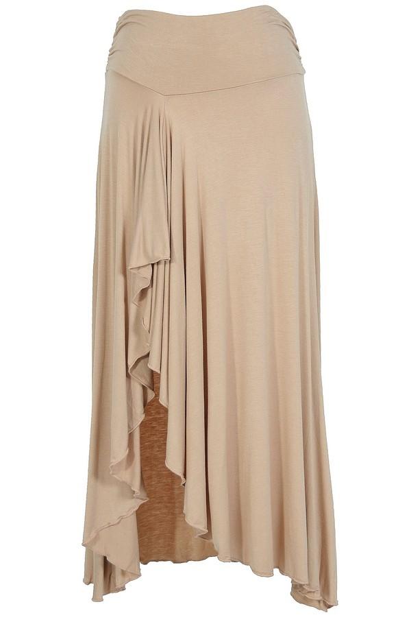 Side Slit Ruffle Maxi Skirt in Beige