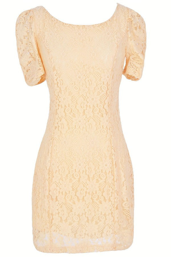 Skyler Fitted Lace Sheath Dress in Cream