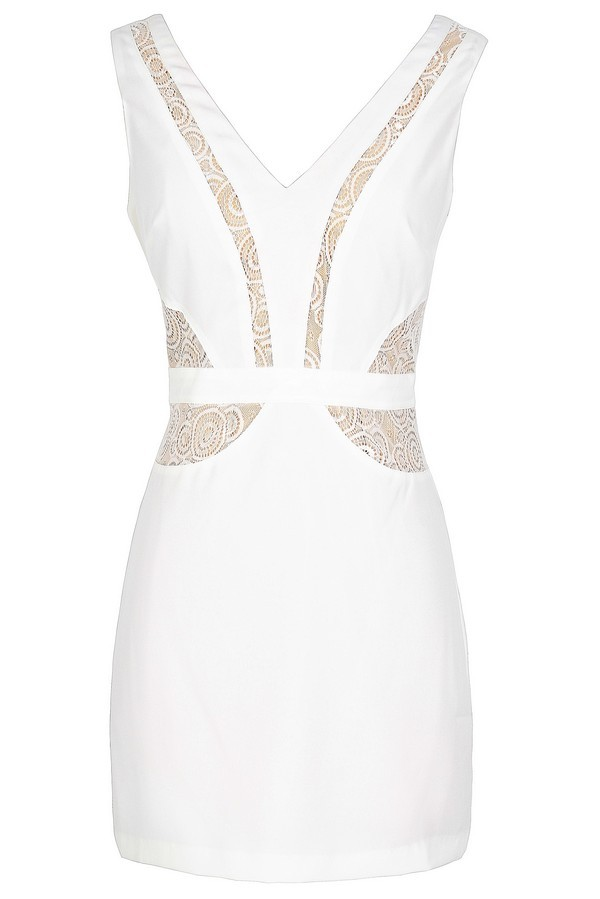 Lace Panel Fitted Designer Dress in Ivory/Beige