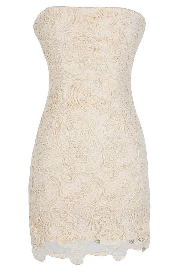 Strapless Crochet Lace Dress in Beige