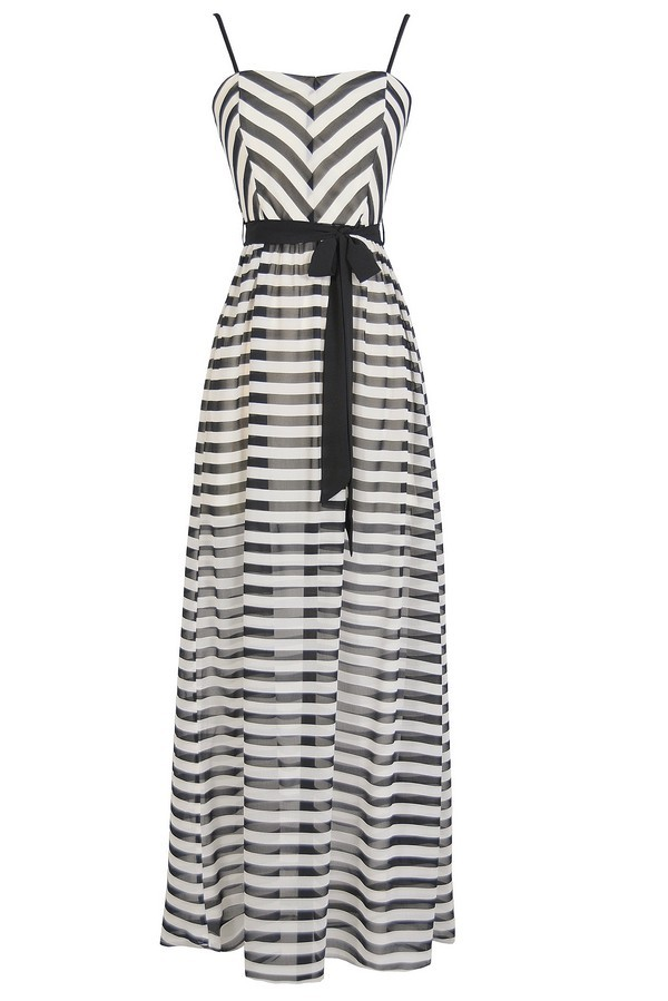 On The Deck Stripe Maxi Dress With Contrast Sash in Black/Ivory