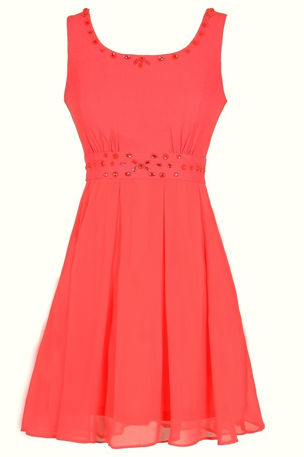 Sixteen Candles Rhinestone Embellished Dress in Coral