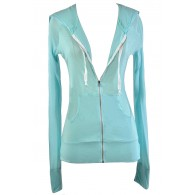 Aqua Zip Up Hoodie, Sky Blue Zip Up Hoodie, Pale Blue Zip Up Hoodie, Cute Blue Hoodie