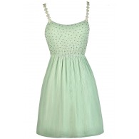 Mint Summer Dress, Cute Mint Dress, Mint Sundress, Beaded Mint Dress, Mint Crochet Strap Dress, Mint A-Line Dress, Mint Party Dress