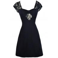 Cute Navy Dress, Navy Lace Dress, Navy Party Dress, Navy Summer Dress, Navy A-Line Summer Dress, Navy Lace Shoulder Dress