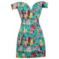 Teal Floral Print Dress, Teal Floral Off Shoulder Dress, Fitted Floral Print Dress, Cute Summer Dress