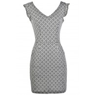 Cute Printed Dress, Black and Beige Pattern Dress, Black and Beige Sheath Dress, Cute Printed Dress