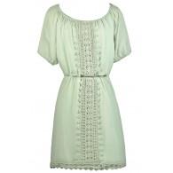 Cute Mint Sundress, Cute Summer Dress, Mint Sage Crochet Lace Dress
