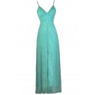 Jade Lace Maxi Dress, Teal Green Lace Maxi