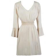 Beige Hippie Dress, Beige Boho Dress, Cute Summer Dress
