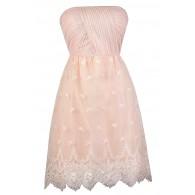 Blush Pink Strapless Dress, Pale Pink Bridesmaid Dress, Cute Pink Dress