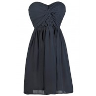 Navy Bridesmaid Dress, Cute Navy Dress, Party Dress