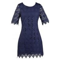 Navy Lace Sheath Dress, Cute Navy Dress, Online Boutique Dress