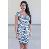 Black and White Lace Pencil Dress, Cute Lace Dress Online